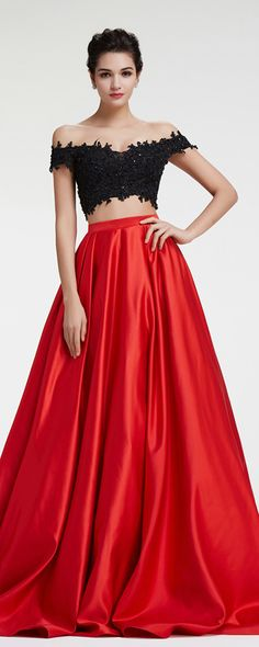 Off the shoulder two piece prom dresses long beaded sparkly prom dresses ball gown prom dress lace red pageant dresses