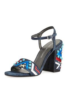 Both+Embellished+City+Sandal,+Navy+by+Stuart+Weitzman+at+Neiman+Marcus.