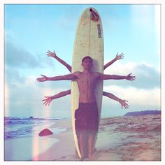 Humor by the ocean beach... with a couple of really skinny friends who can hide behind the surfboard standing in the sand! - cSw:) - Fun pin via pedroramis SURF Pinterest Board.