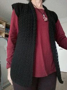 Gehaakt mouwloos vestje met sjaalkraag Kimono, Knitting, Crochet, Sweaters, Shawls, Stitches, Blog, Fashion, Moda