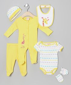 Another great find on #zulily! Sweet & Soft Yellow Giraffe Six-Piece Layette Set - Infant by Sweet & Soft #zulilyfinds