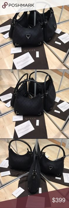 """Gucci bag Gucci bag W12"""", L 8 1/2"""" leather arm, three Gucci signature hooks with zipper. Two pockets inside one with zipper and Gucci logo. Great for work and ever day use. Very classic and elegant. Comes with the certificate and a dust bag. Gucci Bags Shoulder Bags"""