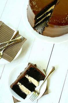 Dark Chocolate Salted Caramel Layer Cake.