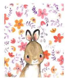 Whimsy Floral Rabbit Print