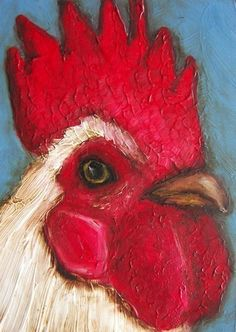 8 x 10 IN - Rooster - Chicken Farm Folk Art LE Giclee print from my original painting via Etsy