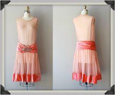Coral 1920s mesh & velvet dress w/rhinestone buckle.  #1920s I think this might make a fun flapper wedding dress.