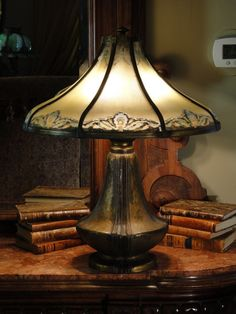 Large Elegant Bradley & Hubbard Reverse Painted Lamp w/ Pod Base from stidwillsantiques on Ruby Lane