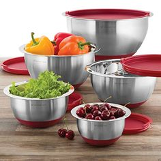 Wolfgang Puck 10 PC Stainless Steel Mixing Bowl Set Red >>> Details can be found by clicking on the image.