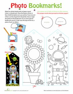 "Download en maak je eigen boekenlegger met je foto | Worksheets: Photo Bookmarks | Great craft ideas at Pinterest account ""kinderopvangnl"" (Roos Gast)"