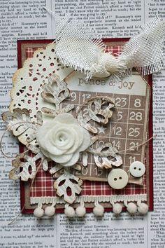 Peace & Joy - Scrapbook.com / like the color scheme & large snowflake with a felt flower center