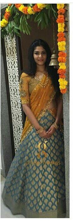 Ideas For Dress Indian Wedding Color Combos Half Saree Lehenga, Lehenga Style, Anarkali, Lehenga Dupatta, Indian Wedding Bride, Saree Wedding, Bridal Sarees, Indian Weddings, Wedding Wear