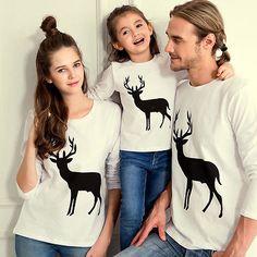 xmas autumn Women men adult children toddler boy girl  Baby Kids Family Matching Outfits Deer Shirt Casual T-shirt Tops white