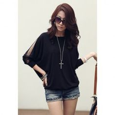 $7.09 Casual Style Black Color Voile Splicing Batwing Sleeve Cotton T-Shirt For Women