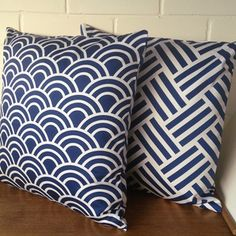 Navy Swell Cushion Cover by Black Eyed Susie