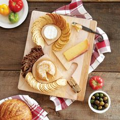 Fun CHEESE & CRACKERS SERVING BOARD   cheese and crackers, maple wood, tray   UncommonGoods