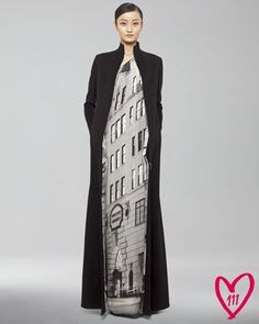 Long Cashmere Coat & BG 111th Anniversary Gown by Akris at Bergdorf Goodman.