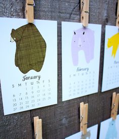 Little Bears 2014 Calendar Desk Calendar Wall Calendar by Gingiber