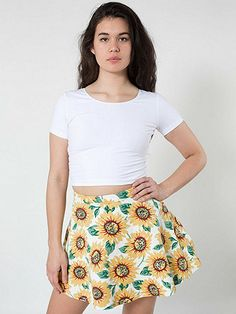 Sunflower Print Stretch Bull Denim Circle Skirt  http://store.americanapparel.net/sunflower-print-stretch-bull-denim-circle-skirt_rsasd304p