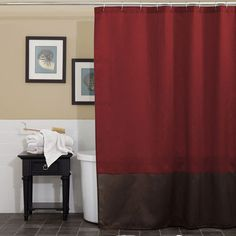 Linens N Things (red / Brown Shower Curtain) Simple Elegance Meets Style  With This Fashionaly Colored Prima Red/.
