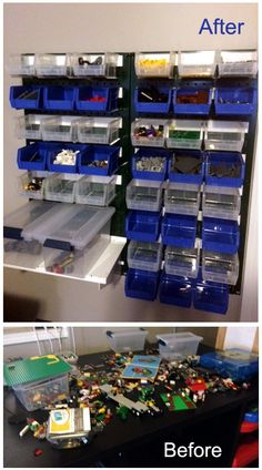 Tired of stepping on your kid's LEGOs and having to (try to) hold your tongue? Well get those little rage inducing landmines off the ground and organized with some Wall Control pegboard and plastic hanging bins! Thanks for another great customer submission Gary!