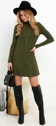 - Casual simple wild high collar knit skirt dress for the trendy woman - Cool casual dress great for any occasion - Available in 2 colors Classy Outfits, Fall Outfits, Casual Outfits, Fashion Outfits, Womens Fashion, Beautiful Outfits, Pretty Outfits, Fashion Shoes, Fashion Jewelry