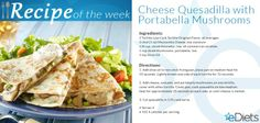 Cheese Quesadillas with Portabella Mushrooms | Only 102 calories per serving.  This satisfying recipe is a sample of the type of savory and healthy suggestions you'll receive as part of your eDiets #Nutrihand Plan. Learn more at: https://www.ediets.com/diets/diet-plans/ediets-nutrihand-plans