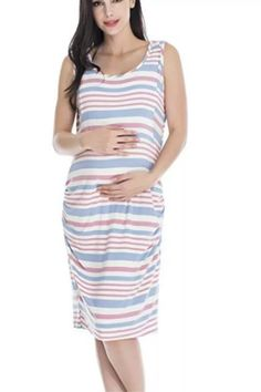 Classic women's stripes Maternity Nursing Wear Cotton pajamas Outdoor leisure beach skirt Women's plus size dress
