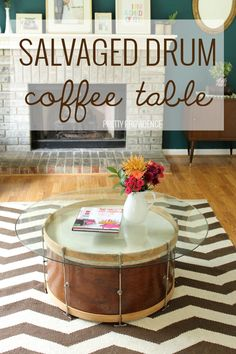 Repurposed vintage drum into a coffee table! - Home Decoration and Diy Drum Coffee Table, Drum Table, Cheap Home Decor, Diy Home Decor, Room Decor, Diy Furniture Projects, Design Furniture, Music Furniture, Deco Studio