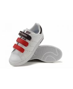 5084d98291c Adidas Stan Smith Womens Velcro White Red Grey Sale Discount Adidas