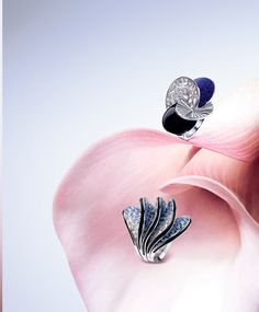 "Cartier Creations Spring 2014 ""Paris Nouvelle Vague Collection"": (Top) - A ring made of 18 carat white gold, onyx, lapis lazuli and diamonds... (Bottom) - A ring made of white gold, absolutely covered with  sapphires and diamonds..."