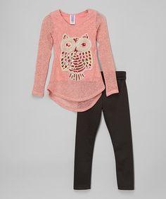Coral Owl Tunic & Black Leggings - Toddler & Girls by Maya Fashion #zulily #zulilyfinds