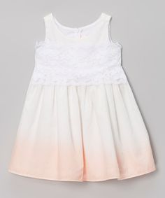 Look at this C'est Chouette Cream & Apricot Ombré Dress - Infant, Toddler & Girls on #zulily today!