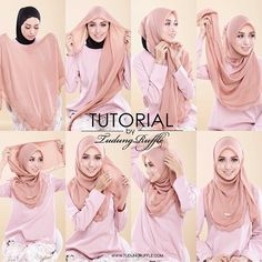 tutorial by tudung ruffle - Hijab Tutorials Square Hijab Tutorial, Simple Hijab Tutorial, Hijab Style Tutorial, Stylish Hijab, Hijab Casual, Hijab Chic, Modern Hijab Fashion, Muslim Fashion, Islamic Fashion