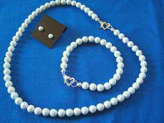 Childs Swarovski Pearl Necklace Bracelet and Earring Set Pastel Blue Flower Girl by lindasoriginaljewels on Etsy