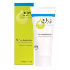 Juice Beauty: Oil-Free Moisturizer: Hydrate, quench and restore your skin's natural moisture balance with this lightweight oil-free moisturizer that contains a blend of certified organic grape, pomegranate, soothing aloe vera, vitamin antioxidants and nutrient-rich sea algae to restore the skin's natural balance. Clears While Hydrates.