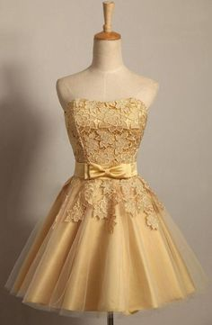 yes made embroidery off the shoulder gold homecoming dresses 2014 new sweetheart ball gown real lace summer dress Tight Prom Dresses, Lace Homecoming Dresses, Short Dresses, Prom Gowns, Gold Dama Dresses, Party Dresses, Occasion Dresses, Bridesmaid Dress, Cocktail Gowns