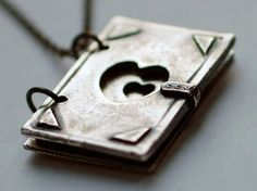 Silver Book Necklace by allthosethrees on Etsy