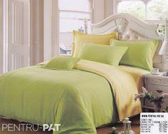Lenjerie de pat bumbac satinat Casa New Fashion UNI crem si verde New Fashion, Comforters, Satin, Blanket, Furniture, Home Decor, Ideas, Green, Creature Comforts