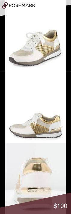 """Michael Kors Allie Mixed-Media Trainer Sneaker NWT Neiman Marcus MICHAEL Michael Kors Allie Mixed-Media Trainer Sneaker, Optic White/Gold MICHAEL Michael Kors metallic faux-leather (polyurethane) and suede sneaker. 1.3"""" flat heel. Round reinforced toe. Lace-up front. Metal logo details. Cushioned footbed. Rubber tread outsole. """"Allie"""" is imported. UGG Shoes Sneakers"""