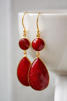 Gold Red Ruby Earrings - July Birthstone