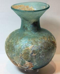 Ancient Roman Glass Jar with iridescence Ca. 2nd-3rd century A.D.