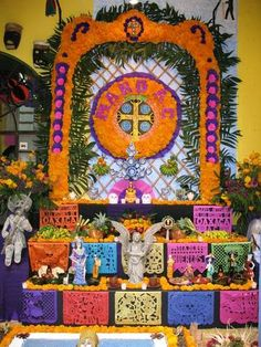 Day of the Dead altars are set up in businesses as well as family homes. This is an altar that was on display in a handicraft shop
