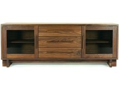 Modern American Buffet - Sideboard 1.  Features a luxurious Art Deco style and flair. Handcrafted in Vermont using natural walnut wood.