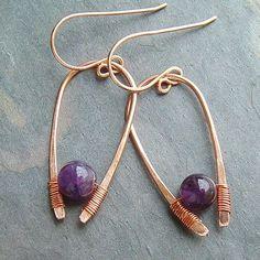 Modern Jewelry Copper Hoop Earrings Amethyst by ArtistiKat on Etsy, $25.95