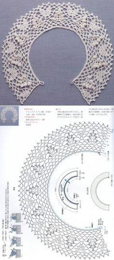 Crochet lace collar: petals, popcorns and picots