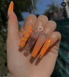 Acrylic Nails Coffin Glitter, Orange Acrylic Nails, Best Acrylic Nails, Acrylic Nail Designs, Nail Art Designs, Orange Ombre Nails, Orange Nail Designs, Glitter Acrylics, Pastel Nails
