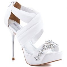 White And Silver Wedding Shoes
