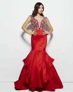 Trumpet skirt, embellished top, fitted, floor length, red #promdress! How hot is this?! Style 48409M Red