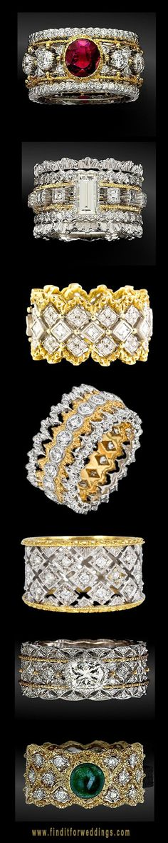 Buccellati rings. Stach two at a time for a statement finger. www.kristoffjewelers.com #rings #diamonds #naples
