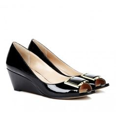 Black and Gold Patent Leather Peep Toe WedgeSole Society - Peep toe wedges - Suzie